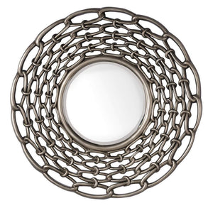 "Links 38"" Mirror in Burnished Silver"