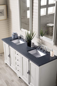"Providence 72"" Double Vanity Cabinet, Cottage White, with Charcoal Soapstone Quartz Top with Sink"