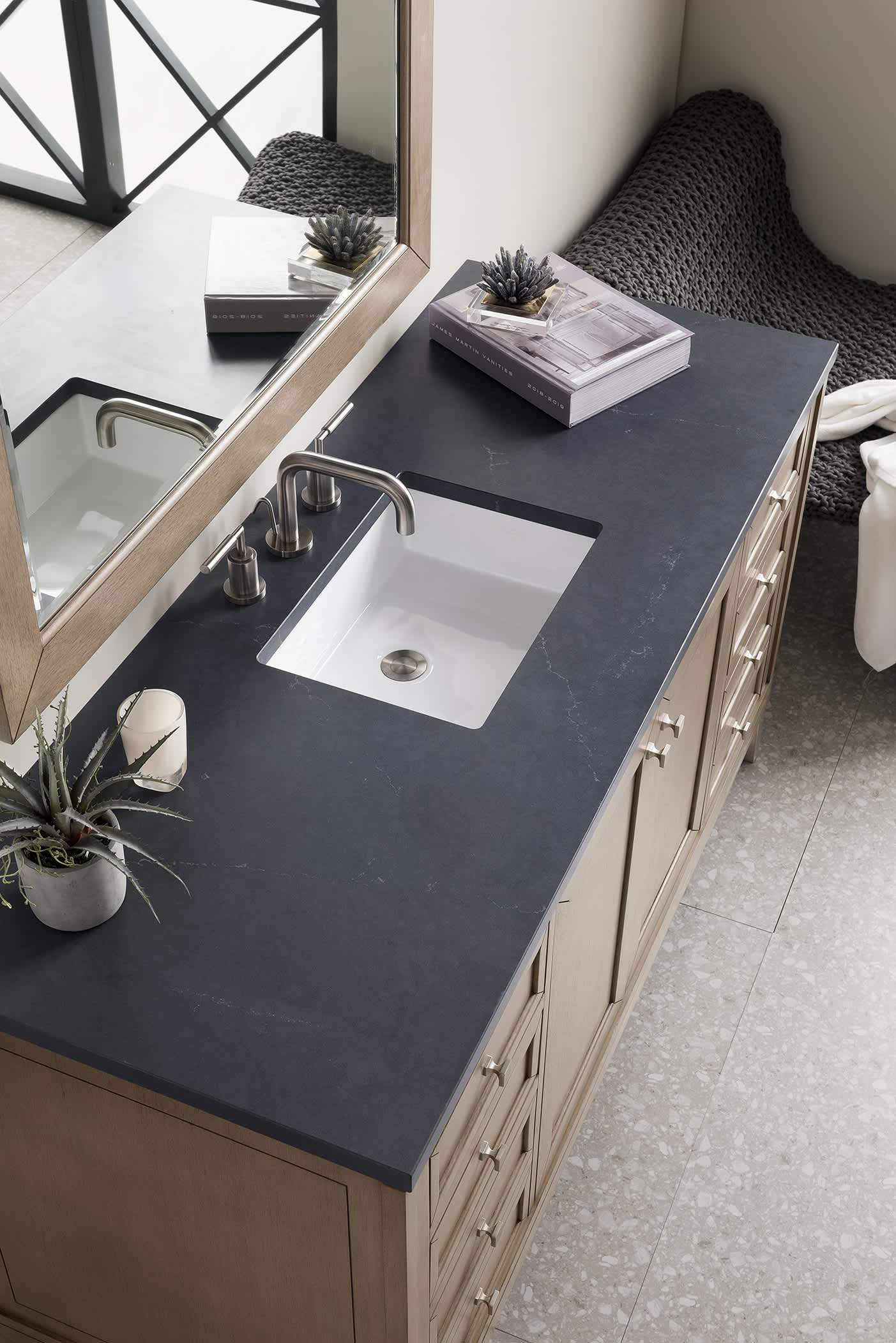 "Chicago 60"" Single Vanity Whitewashed Walnut, with Charcoal Soapstone Quartz Top with Sink"