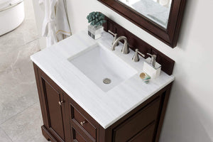 "De Soto 30"" Single Vanity, Burnished Mahogany with Arctic Fall Solid Surface Top"