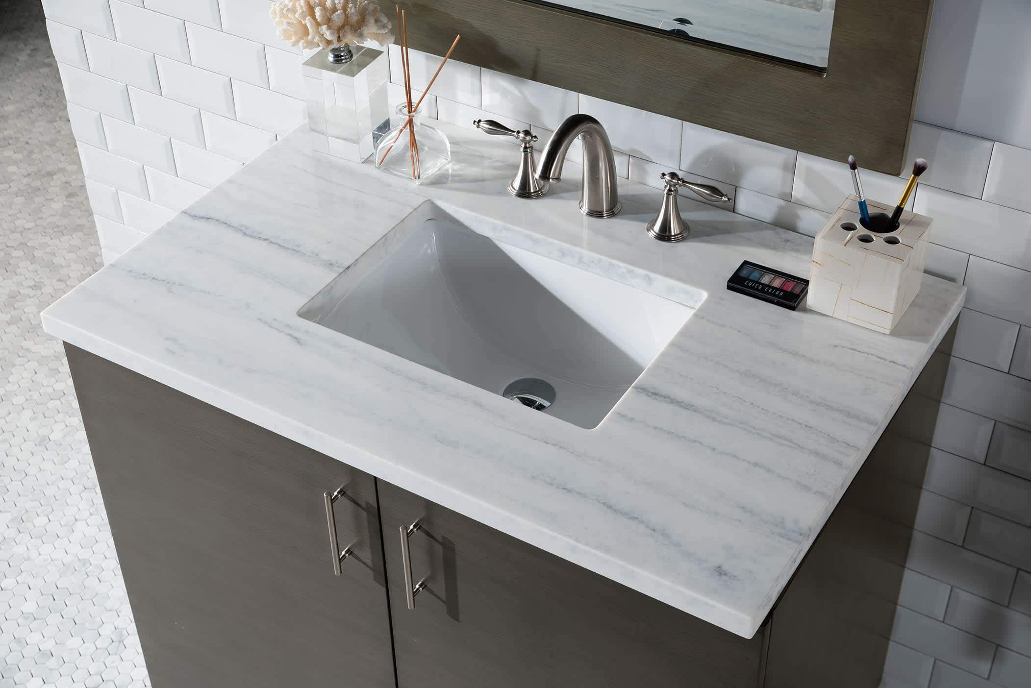 "Metropolitan 36"" Silver Oak Single Vanity with Arctic Fall Solid Surface Top"