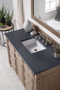 "Bristol 48"" Single Vanity Whitewashed Walnut, with Charcoal Soapstone Quartz Top with Sink"