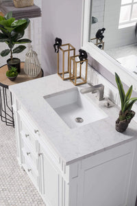"Bristol 36"" Single Vanity, Cottage White, with Eternal Jasmine Pearl Quartz Top with Sink"