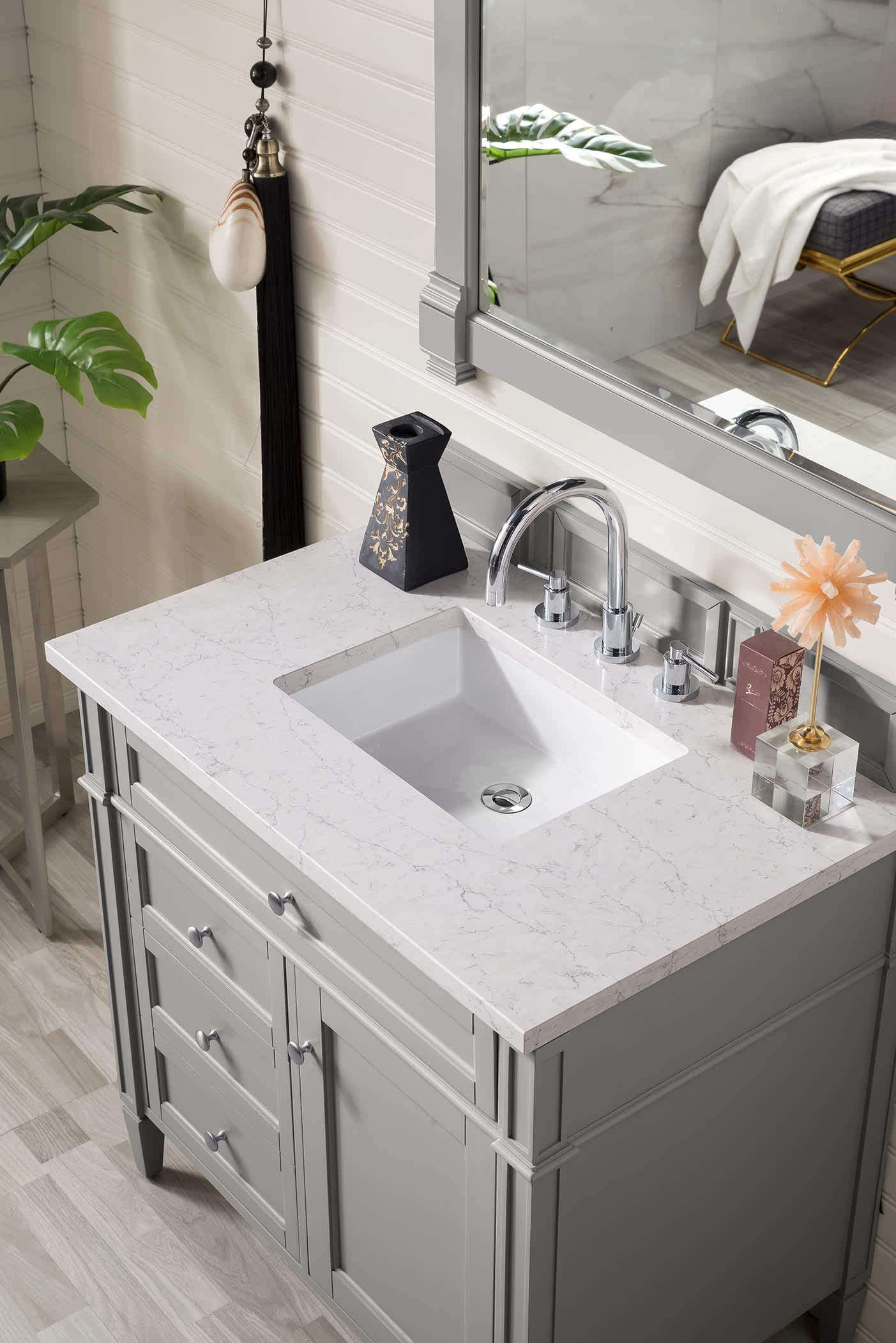 "Brittany 36"" Urban Gray Single Vanity with Eternal Jasmine Pearl Quartz Top with Sink"
