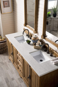 "Providence 72"" Double Vanity Cabinet, Driftwood, with Eternal Jasmine Pearl Quartz Top with Sink"