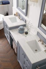 "Load image into Gallery viewer, Copper Cove Encore 86"" Double Vanity Set, Silver Gray with Makeup Table, Arctic Fall Solid Surface Top"