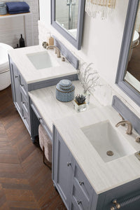 "Copper Cove Encore 86"" Double Vanity Set, Silver Gray with Makeup Table, Arctic Fall Solid Surface Top"