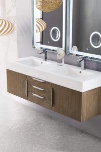 "Mercer Island 59"" Double Vanity, Latte Oak with Glossy White Solid Surface Top"