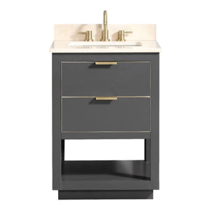"Allie 24"" Vanity Twilight Gray with Gold Trim and Crema Marfil Marble Top"
