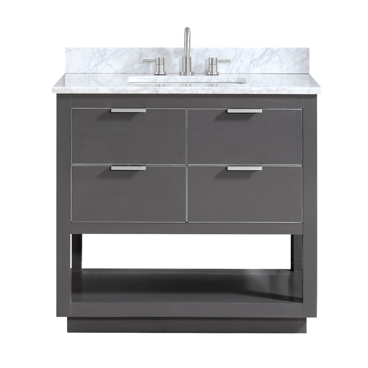 "Allie 36"" Vanity in Twilight Gray with Silver Trim and Carrara White Marble Top"