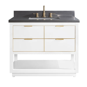 "Allie 42"" Vanity in White with Gold Trim and Gray Quartz Top"