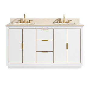 "Austen 60"" Vanity in White with Gold Trim and Crema Marfil Marble Top"