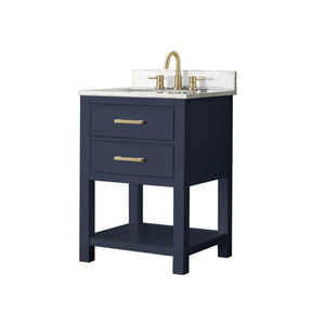 "Brooks 24"" Vanity in Navy Blue with Carrara White Marble Top"