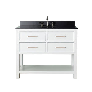 "Brooks 42"" Vanity in White Finish with Black Granite Top"
