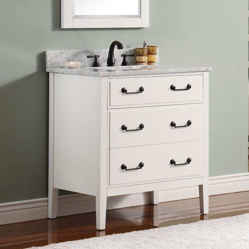 "Delano 30"" Vanity in White Finish with Carrara White Marble Top"