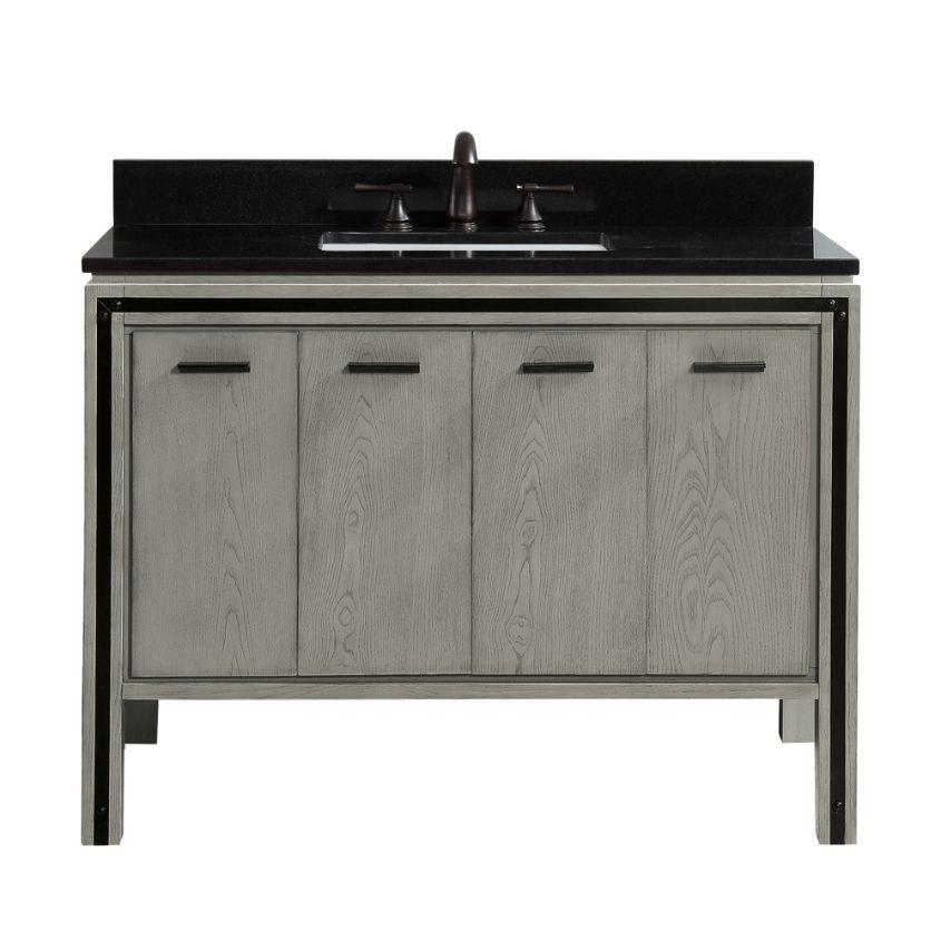 "Dexter 42"" Vanity in Rustic Gray with Black Granite Top"
