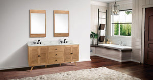 "Harper 72"" Vanity in Natural Teak with Carrara White Marble Top"