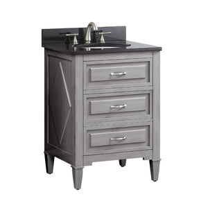 "Kelly 24"" Vanity in Grayish Blue Finish with Black Granite Top"