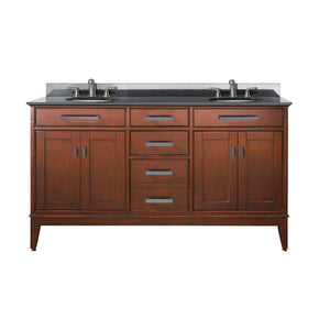 "Madison 60"" Double Vanity in Tobacco Finish with Black Granite Top"