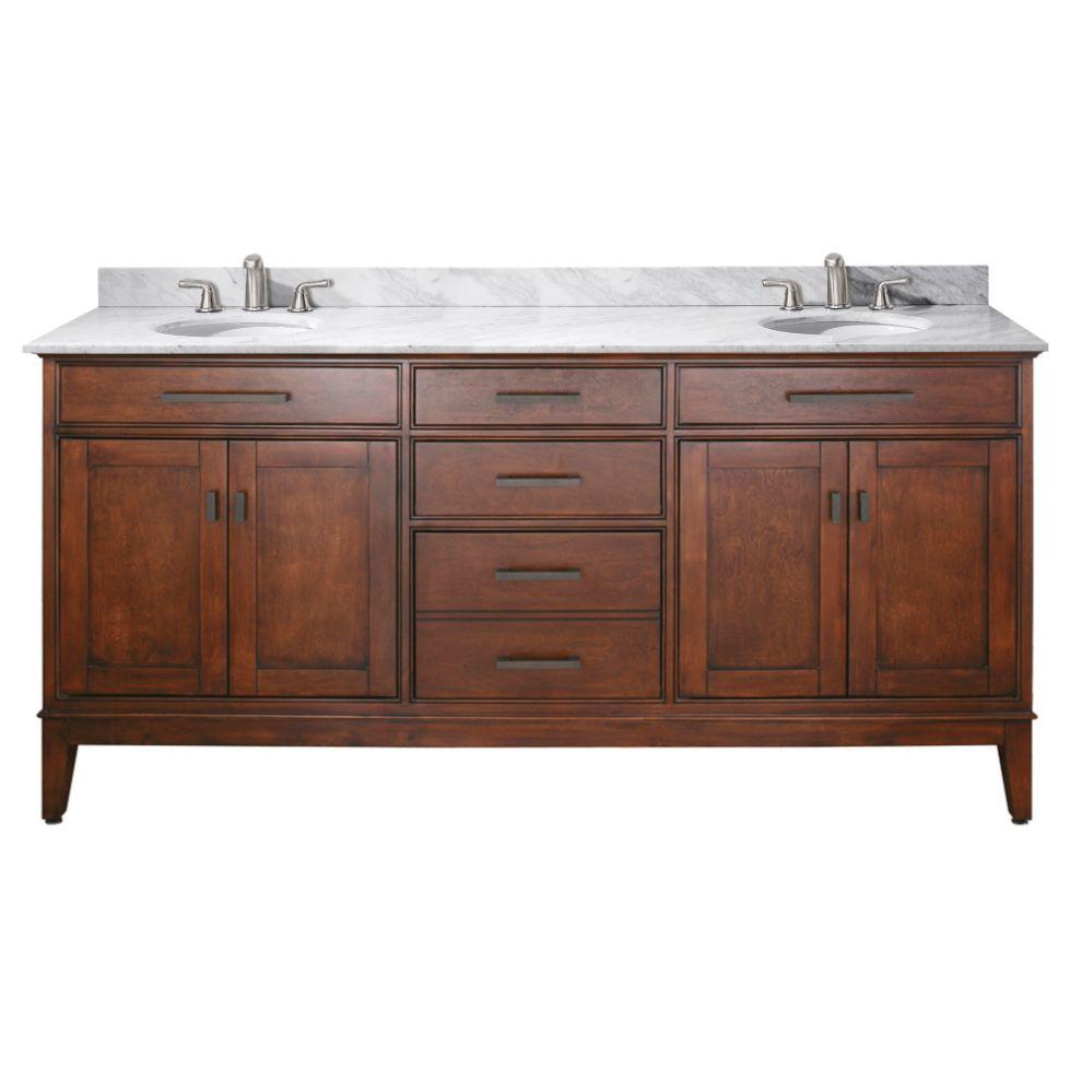 "Madison 72"" Double Vanity in Tobacco Finish with Carrara White Marble Top"