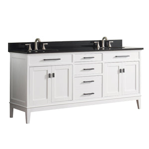 "Madison 72"" Double Vanity in White Finish with Black Granite Top"