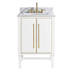 "Mason 24"" Vanity in White with Gold Trim and Carrara White Marble Top"