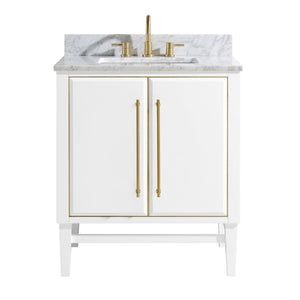 "Mason 30"" Vanity in White with Gold Trim and Carrara White Marble Top"