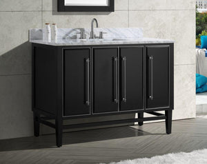 "Mason 48"" Vanity in Black with Silver Trim and Carrara White Marble Top"