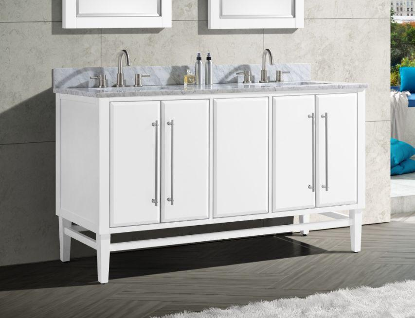 "Mason 60"" Vanity in White with Silver Trim and Carrara White Marble Top"