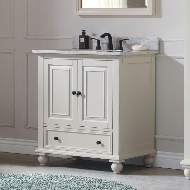 "Thompson 30"" Vanity in French White Finish with Carrara White Marble Top"