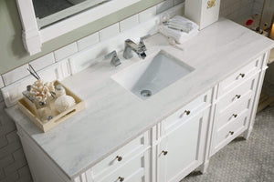"Brittany 60"" Cottage White Single Vanity with Arctic Fall Solid Surface Top"