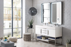 "Columbia 59"" Double Vanity, Glossy White with Glossy White Solid Surface Top"