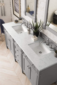 "Brittany 72"" Urban Gray Double Vanity with Eternal Jasmine Pearl Quartz Top with Sink"