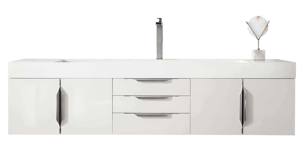 "Mercer Island 72"" Single Vanity, Glossy White with Glossy White Solid Surface Top"