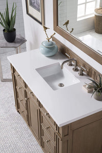 "Bristol 48"" Single Vanity Whitewashed Walnut, with Classic White Quartz Top with Sink"