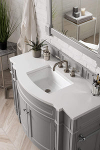 "Brittany 46"" Single Vanity, Urban Gray with Classic White Quartz Top with Sink"