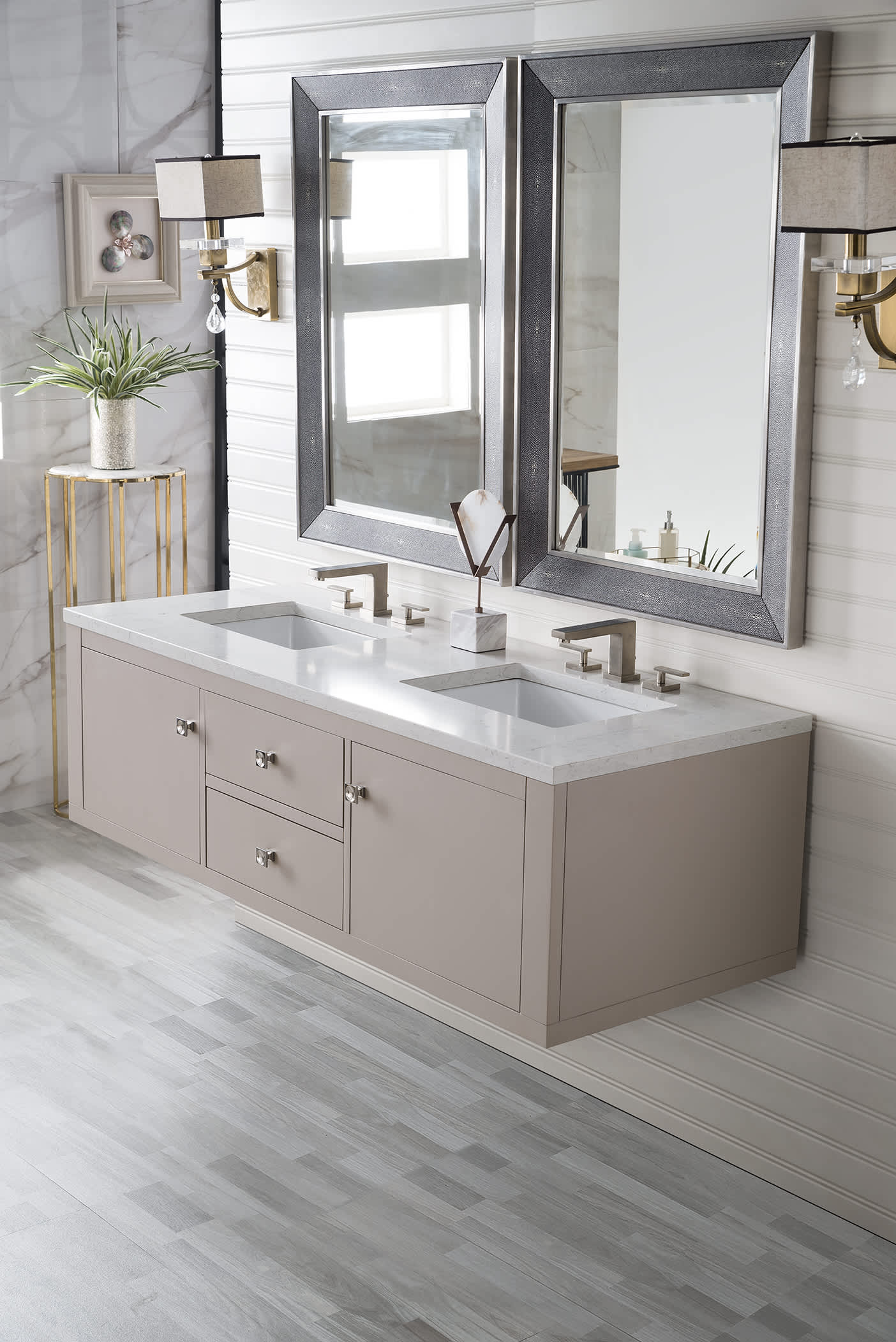 "Silverlake 60"" Double Vanity, Mountain Mist with Eternal Jasmine Pearl Quartz Top with Sink"