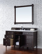 "Load image into Gallery viewer, Brittany 60"" Burnished Mahogany Single Vanity with Classic White Quartz Top with Sink"