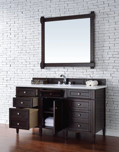 "Brittany 60"" Burnished Mahogany Single Vanity with Classic White Quartz Top with Sink"
