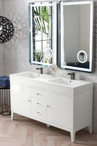 "Linear 59"" Double Vanity, Glossy White with Glossy White Solid Surface Top"