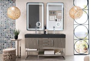 "Columbia 59"" Double Vanity, Ash Gray with Glossy Dark Gray Solid Surface Top"