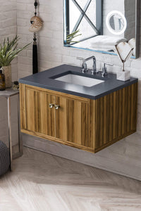 "Silverlake 30"" Single Vanity, Natural Applewood with Charcoal Soapstone Quartz Top with Sink"