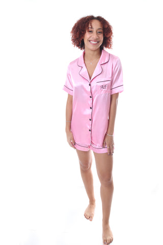 Ladies Pink Satin Short Set
