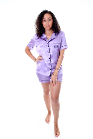 Ladies Lilac Satin Short Set