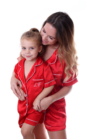 Children's Red Satin Short Set
