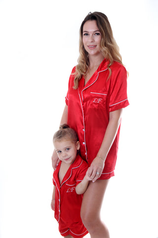 Ladies Red Satin Short Set