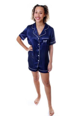 Ladies Navy Satin Short Set