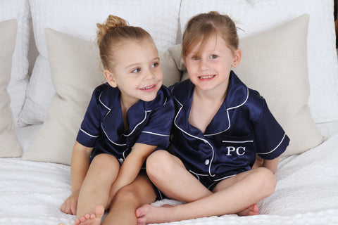 Children's Navy Satin Short Set