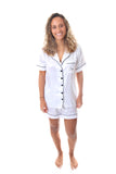 Ladies White Satin Short Set