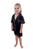 Children's Black Satin Short Set